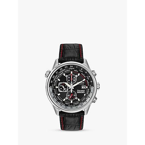 Citizen Ca0080 03e Men S Red Arrows Eco Drive Chronograph Leather Strap Watch