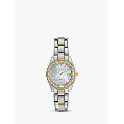 Citizen EW1824-57D Women's Eco-Drive Regent Two Tone Diamond Bracelet Strap Watch, Silver/Gold