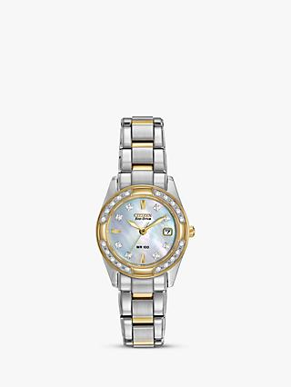 Citizen EW1824-57D Women's Eco-Drive Regent Two Tone Diamond Bracelet Strap Watch, Silver/Gold