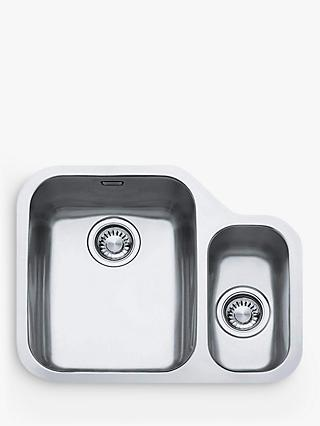 Franke Ariane ARX160 1.5 Kitchen Sink and Plumbing Kit, Left Hand Bowl, Brushed Steel