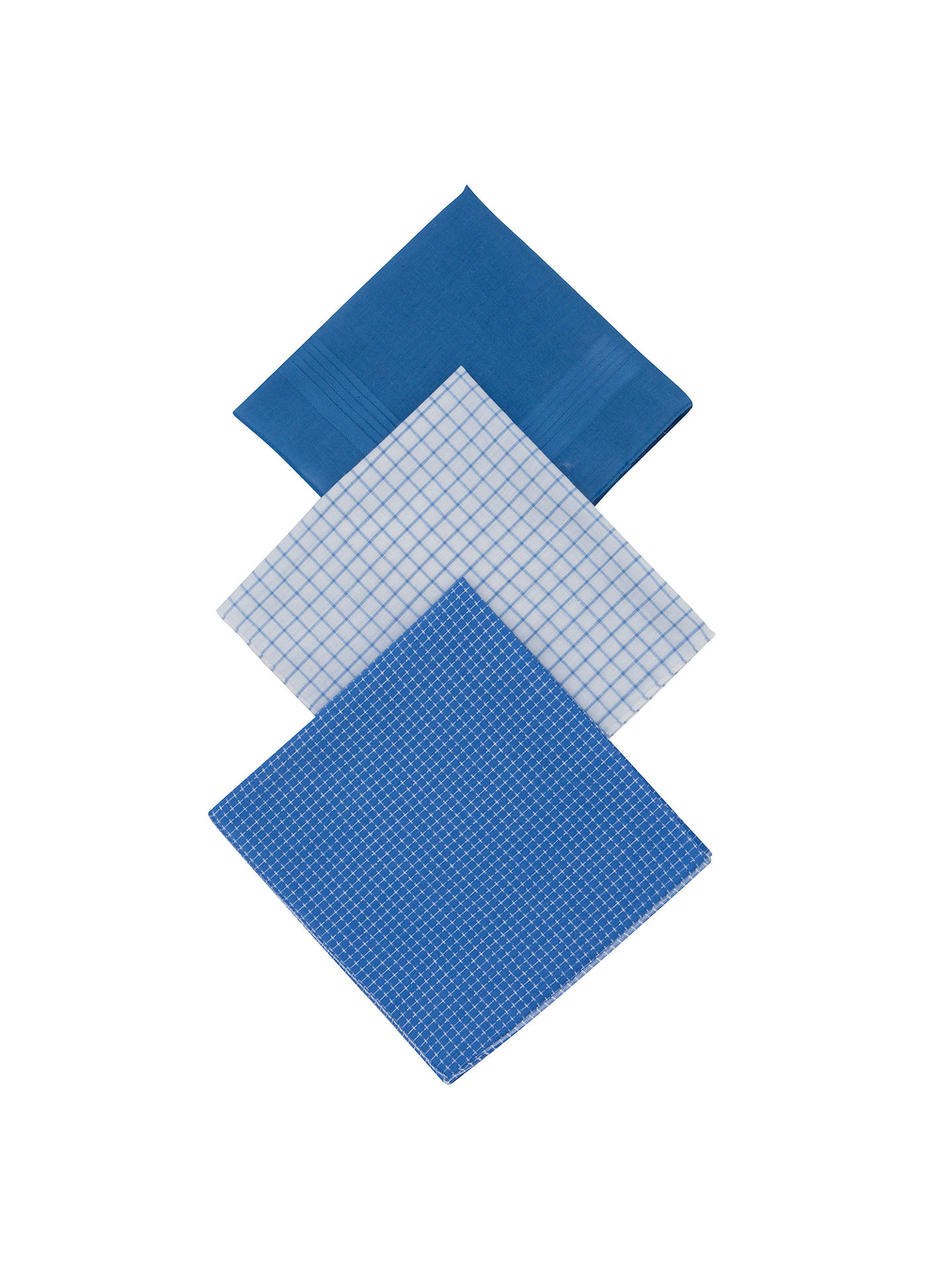 BuyJohn Lewis & Partners Designer Handkerchiefs, Pack of 3, Blue Online at johnlewis.com