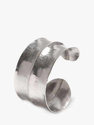 Dower & Hall Sterling Silver Double Concave Hammered Cuff, Silver