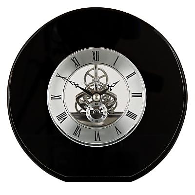 Dartington Crystal Round Mantel Clock, Dia. 15cm, Black
