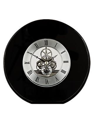Dartington Crystal Round Mantel Clock, Dia. 15cm, Black