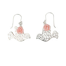 Buy Martick Scroll Dove & Rose Earrings, Silver/Pink Online at johnlewis.com