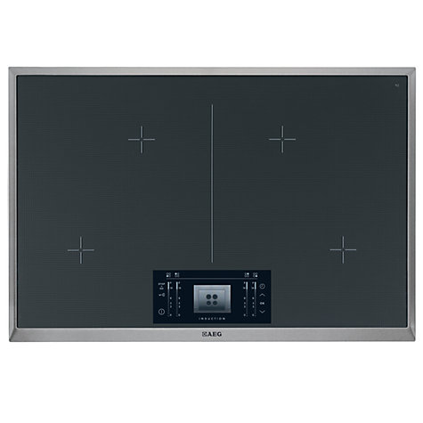 buy aeg hk884400xg induction hob stainless steel black john lewis. Black Bedroom Furniture Sets. Home Design Ideas