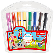 Buy Stabilo Trio Scribbi Felt Pen Wallet, Pack Of 8 Online at johnlewis.com