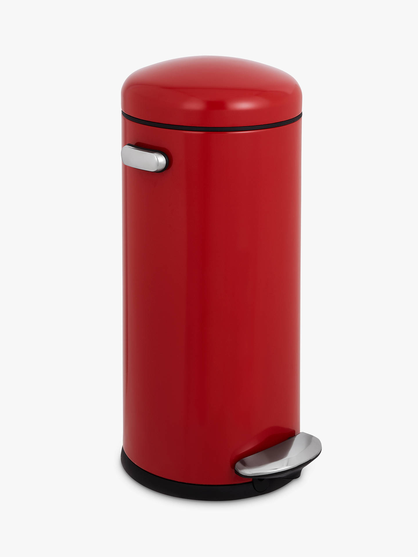 Buysimplehuman Retro Round Pedal Bin, Red, 30L Online at johnlewis.com