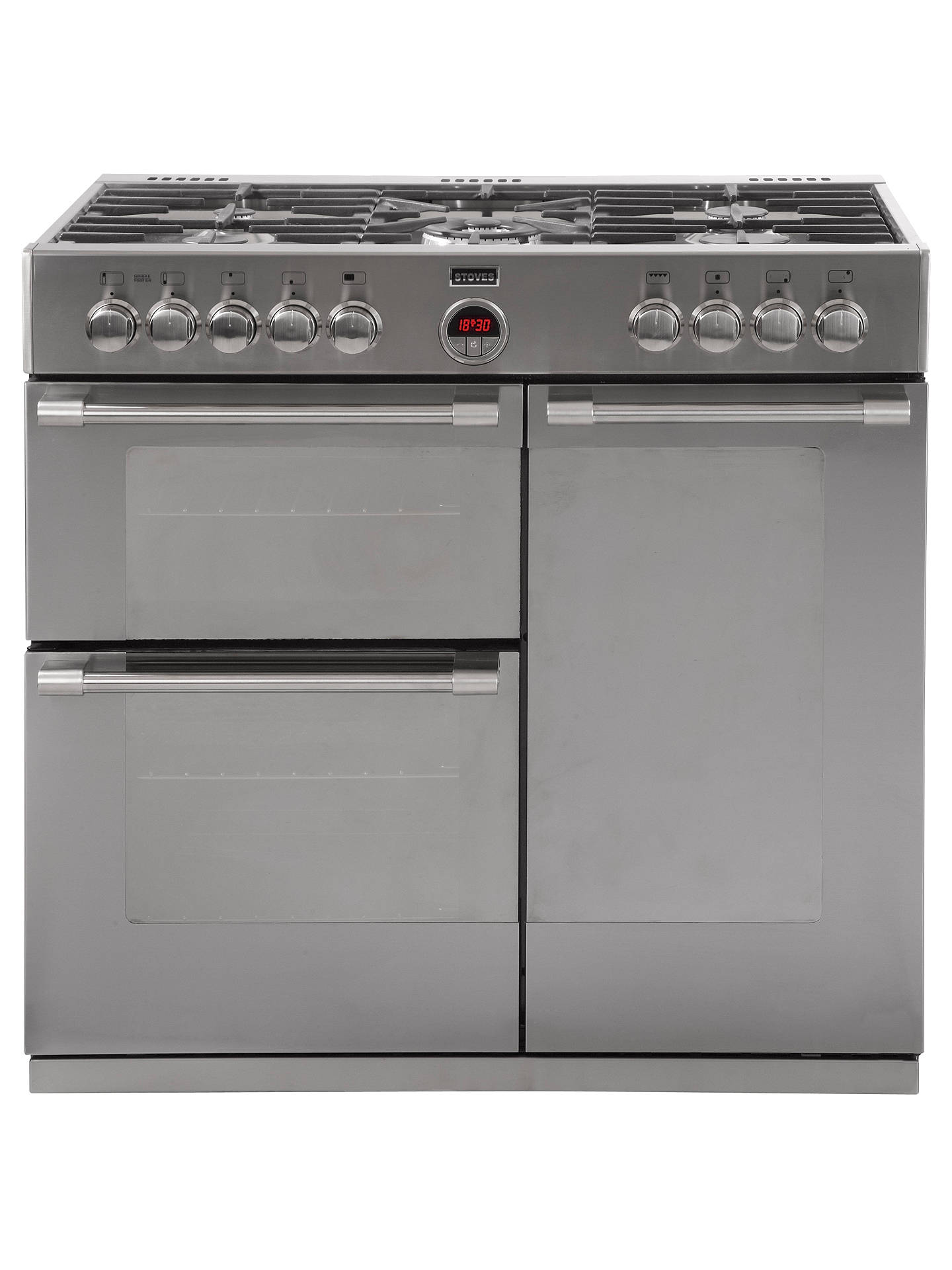 stoves sterling 900dft dual fuel range cooker stainless steel at rh johnlewis com