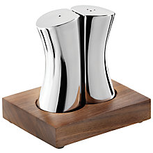 Buy Robert Welch Drift Stainless Steel Salt & Pepper Shakers with Walnut Stand Online at johnlewis.com