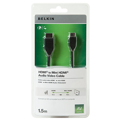 Buy Belkin F3Y006CP HDMI - Mini HDMI Cable, 1.5 metre Online at johnlewis.com