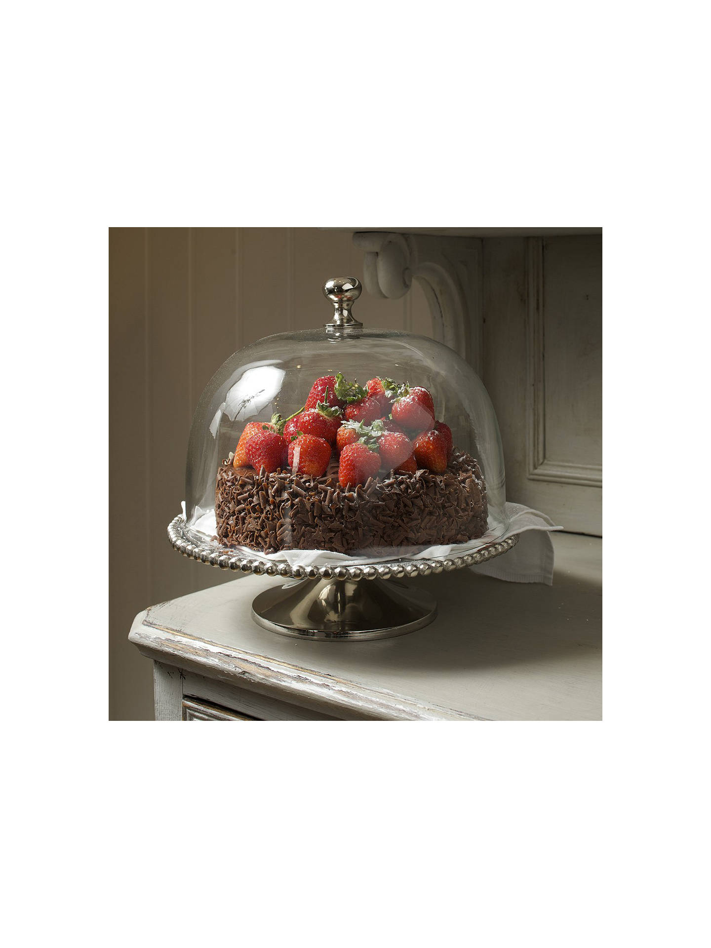 culinary concepts beaded cake stand with glass dome dia. Black Bedroom Furniture Sets. Home Design Ideas