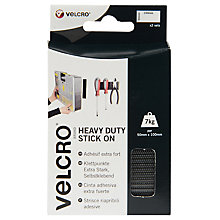 Buy VELCRO® Brand Heavy Duty Stick On Strips, Black, 50 x 100mm Online at johnlewis.com