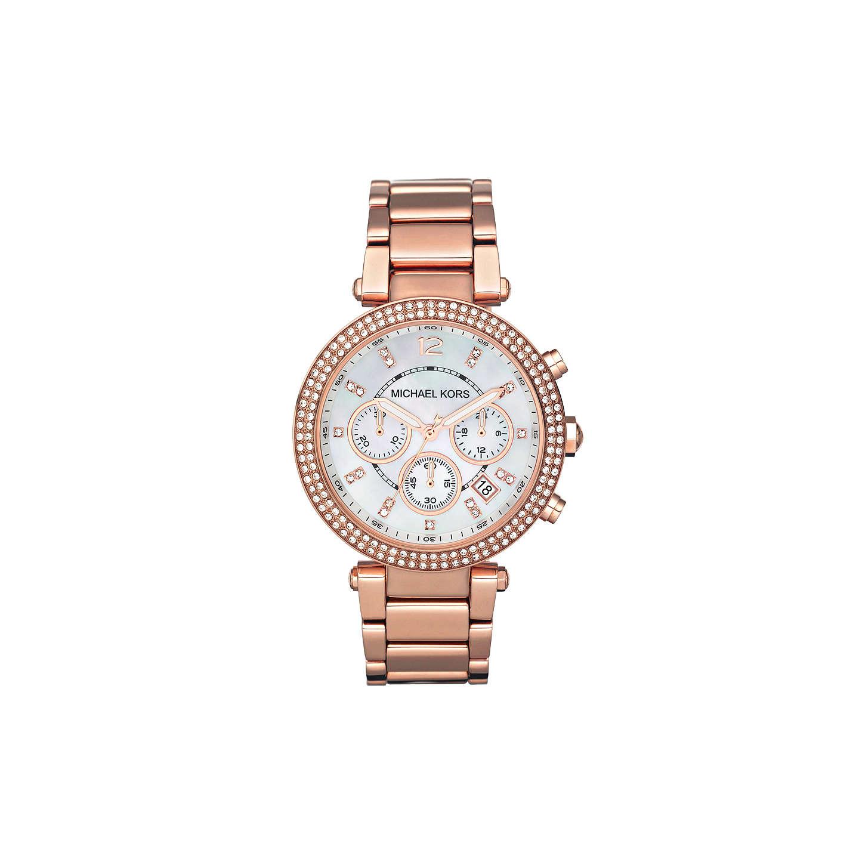 Michael Kors Mk5491 Women S Parker Chronograph Stainless Steel Bracelet Strap Watch Rose Gold White