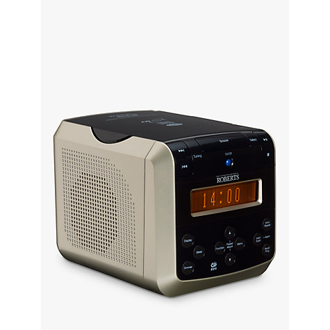 buy roberts sound 38 dab fm cd clock radio black silver john lewis. Black Bedroom Furniture Sets. Home Design Ideas