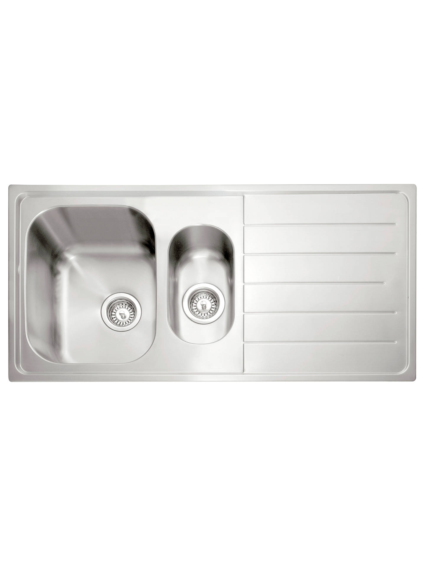 John Lewis 1.5 Kitchen Sink with Right Hand Bowl, Stainless Steel at ...