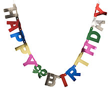 Buy John Lewis Foil Happy Birthday Banner Online at johnlewis.com