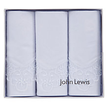 Buy John Lewis Lace Edge Detail Handkerchiefs, Pack of 3, White Online at johnlewis.com