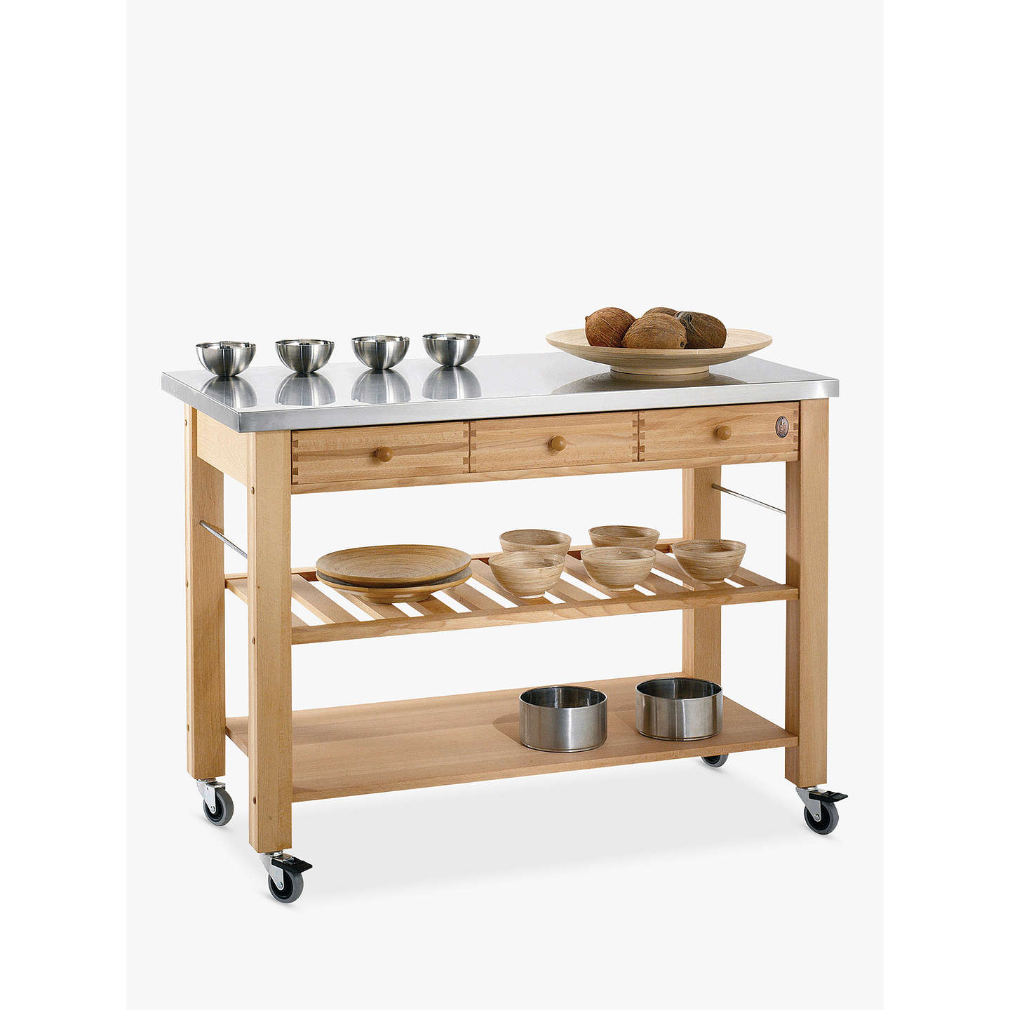Eddingtons Lambourn 3 Drawer Butchers Trolley with Stainless Steel Top at John Lewis