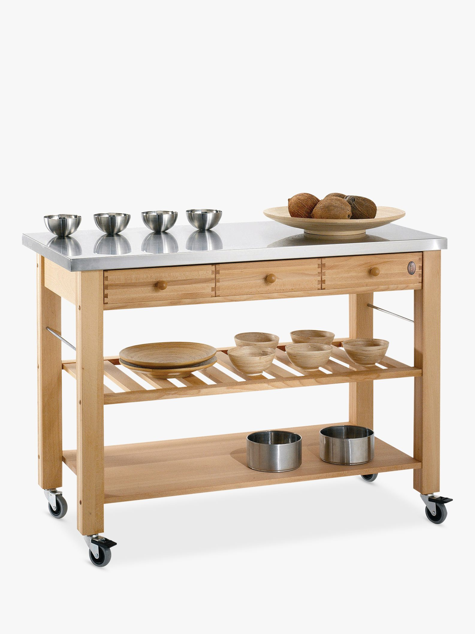 Eddingtons Eddingtons Lambourn 3 Drawer Beech Wood Butchers Trolley with Stainless Steel Top