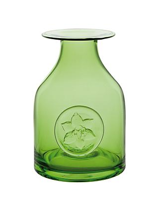 Dartington Crystal Lily Flower Bottle Vase, Green, H18cm