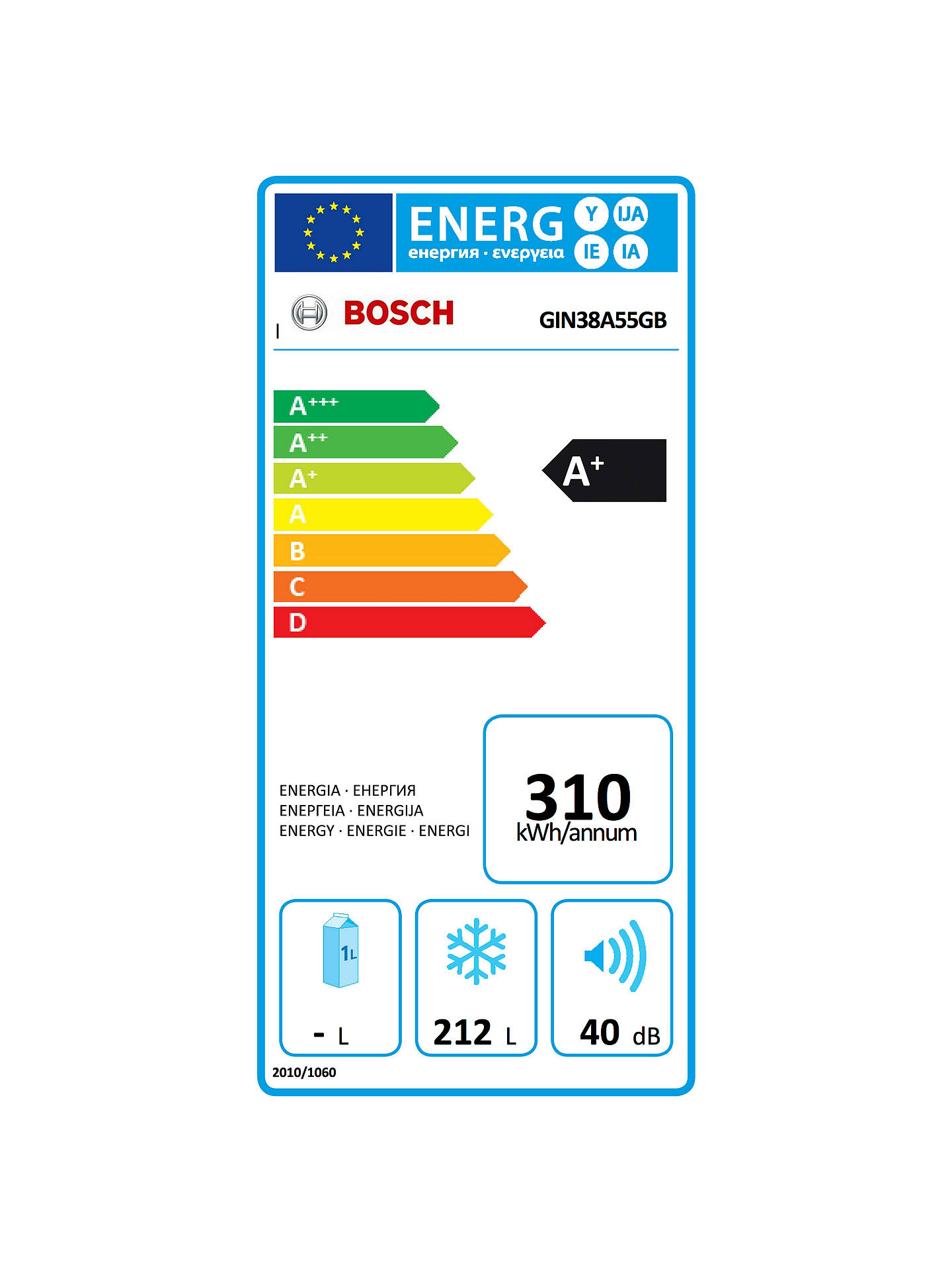 BuyBosch GIN38A55GB Integrated Tall Freezer, A+ Energy Rating, 56cm Wide Online at johnlewis.com