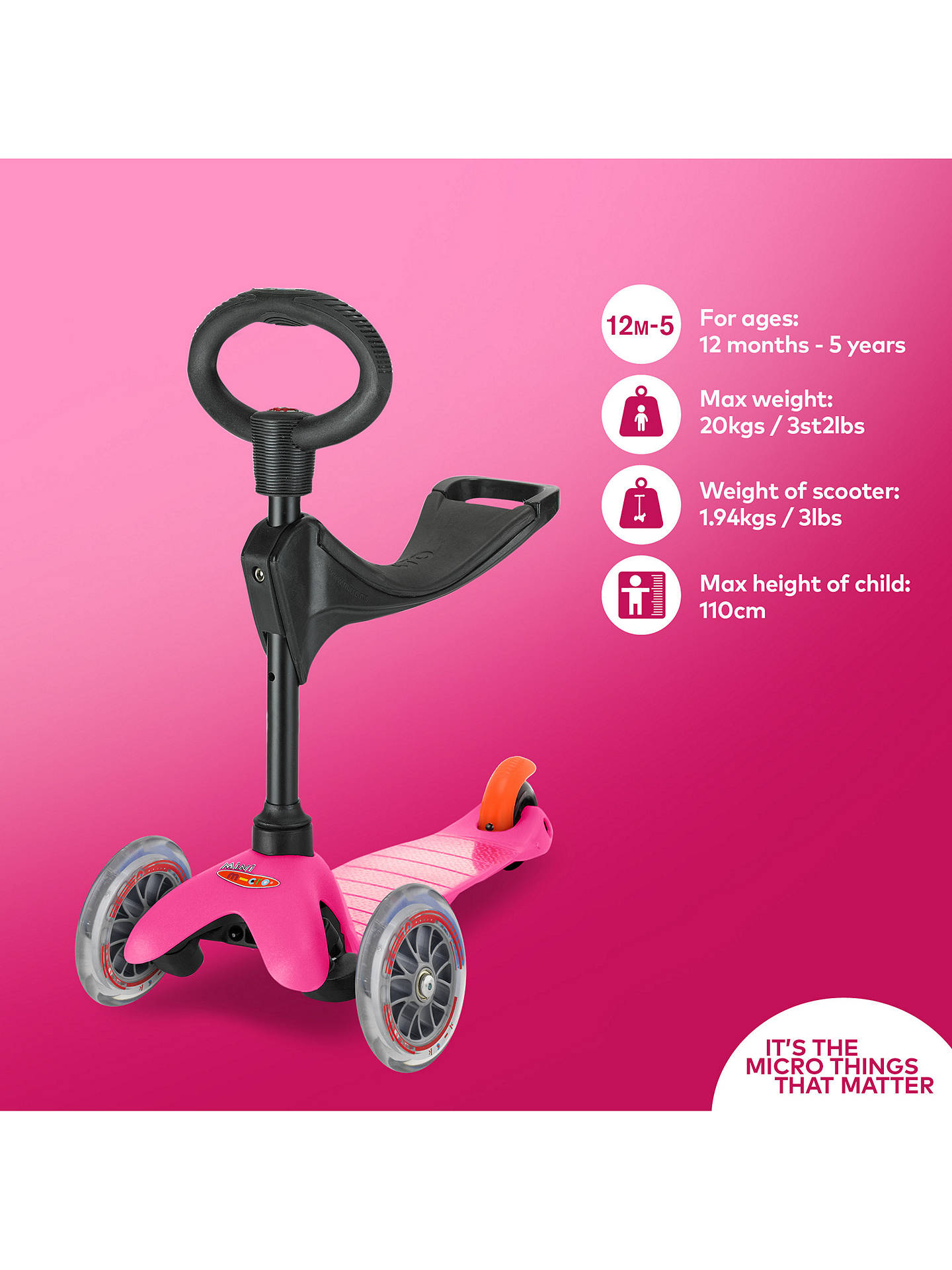 Buy Mini Micro 3-in-1 Scooter with Seat and O-Bar Handle, 1-5 years, Pink Online at johnlewis.com