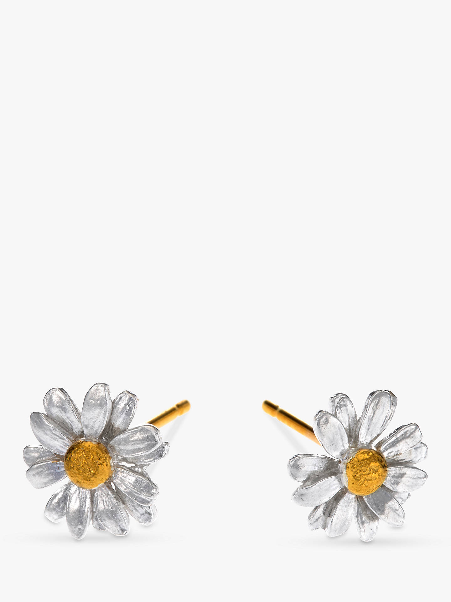 BuyAlex Monroe Classic Daisy Stud Earrings, Silver/Gold Online at johnlewis.com