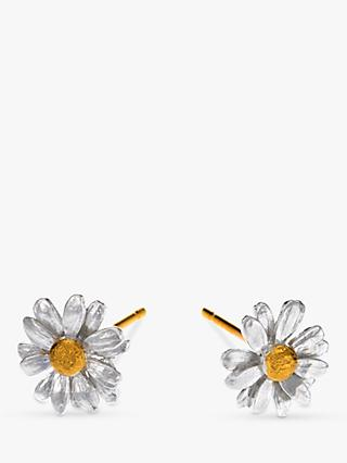 Alex Monroe Classic Daisy Stud Earrings, Silver/Gold