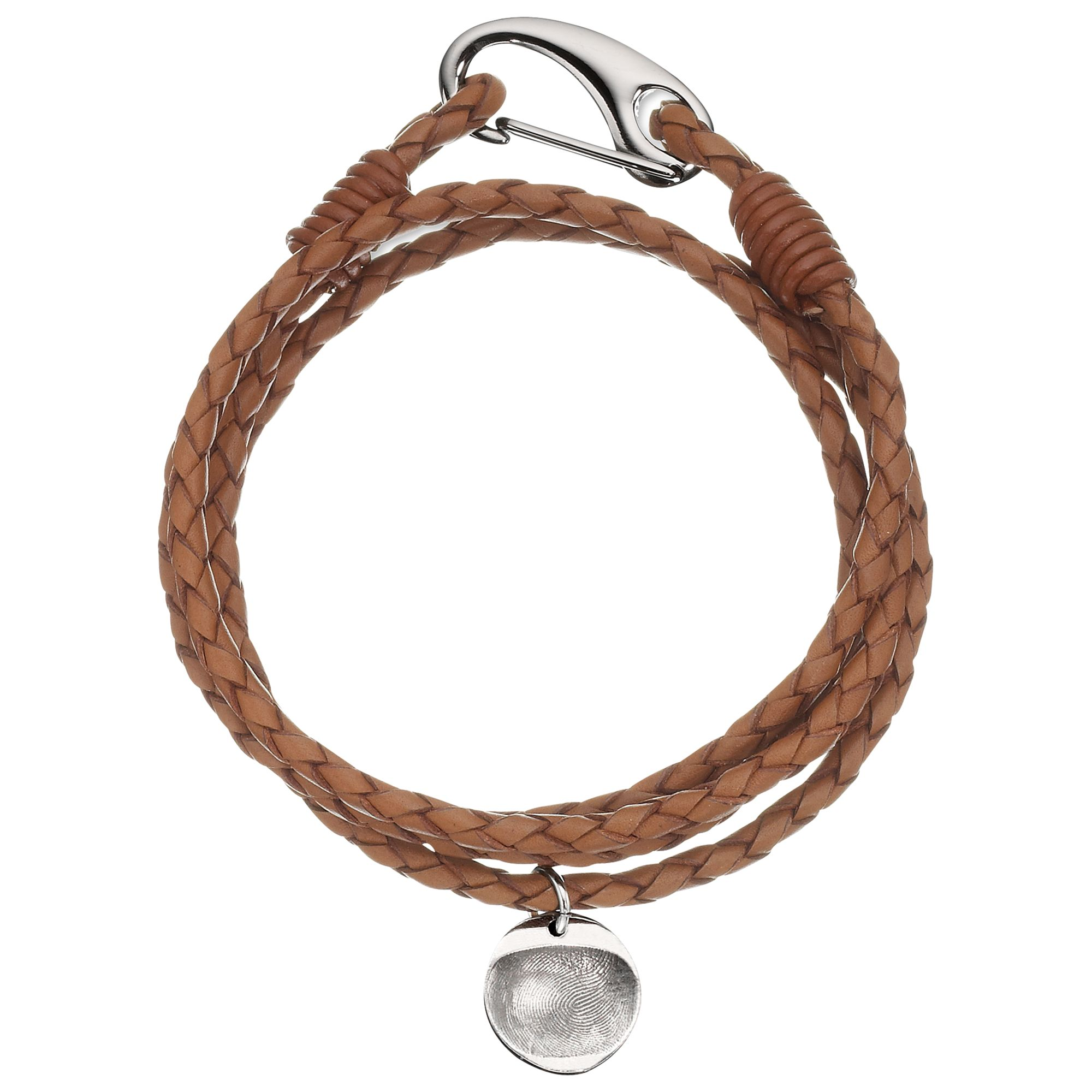 Under The Rose Under the Rose Personalised Men's Leather Bracelet, 1 Charm