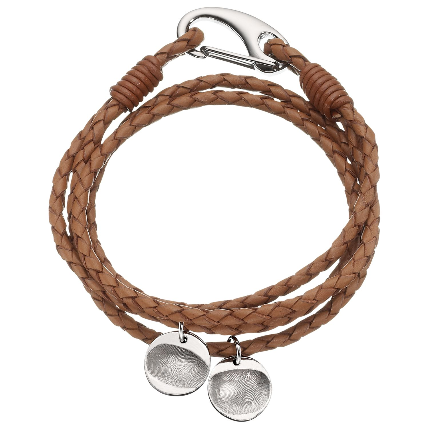 Under The Rose Under the Rose Personalised Men's Leather Bracelet, 2 Charms