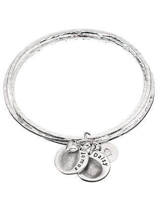 Under the Rose Personalised Fingerprint Bangle, 2 Charms, Silver