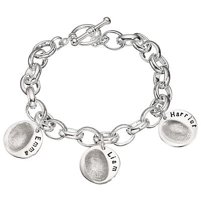 Under the Rose Personalised Women's Fingerprint Charm Bracelet, 3 Charms