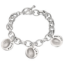 Buy Under the Rose Personalised Women's Fingerprint Charm Bracelet, 3 Charms Online at johnlewis.com