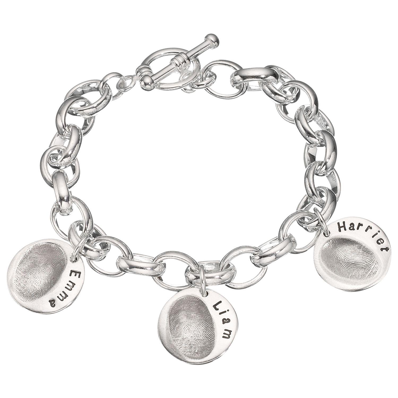 Under The Rose Under the Rose Personalised Women's Fingerprint Charm Bracelet, 3 Charms