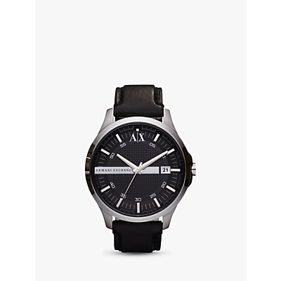 armani exchange ax2101 men's date leather strap watch, black