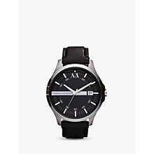 Buy Armani Exchange AX2101 Men's Date Leather Strap Watch, Black Online at johnlewis.com