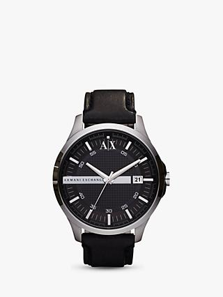 Armani Exchange AX2101 Men's Date Leather Strap Watch, Black