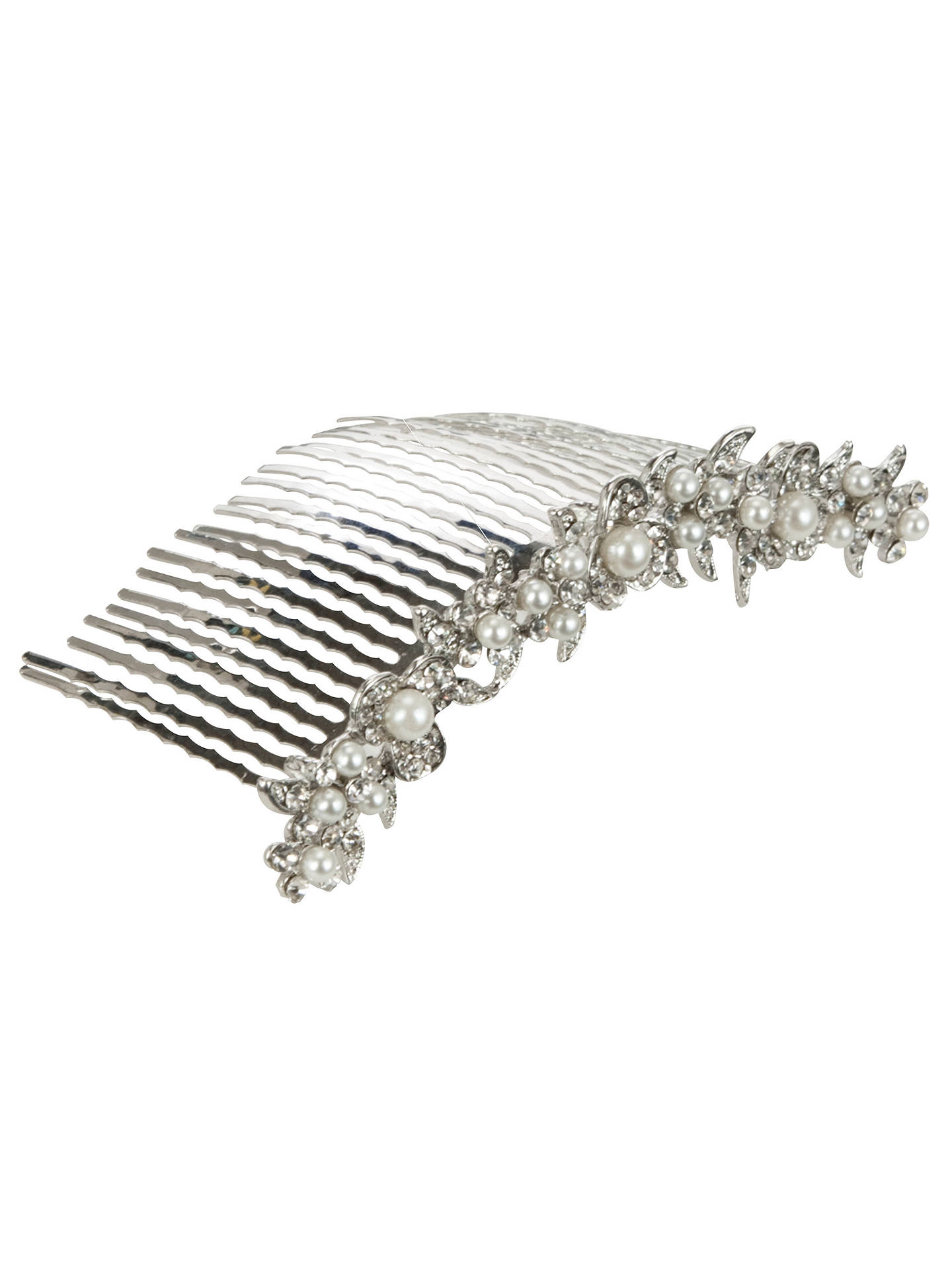 john lewis & partners row of pearls hair comb, silver/white