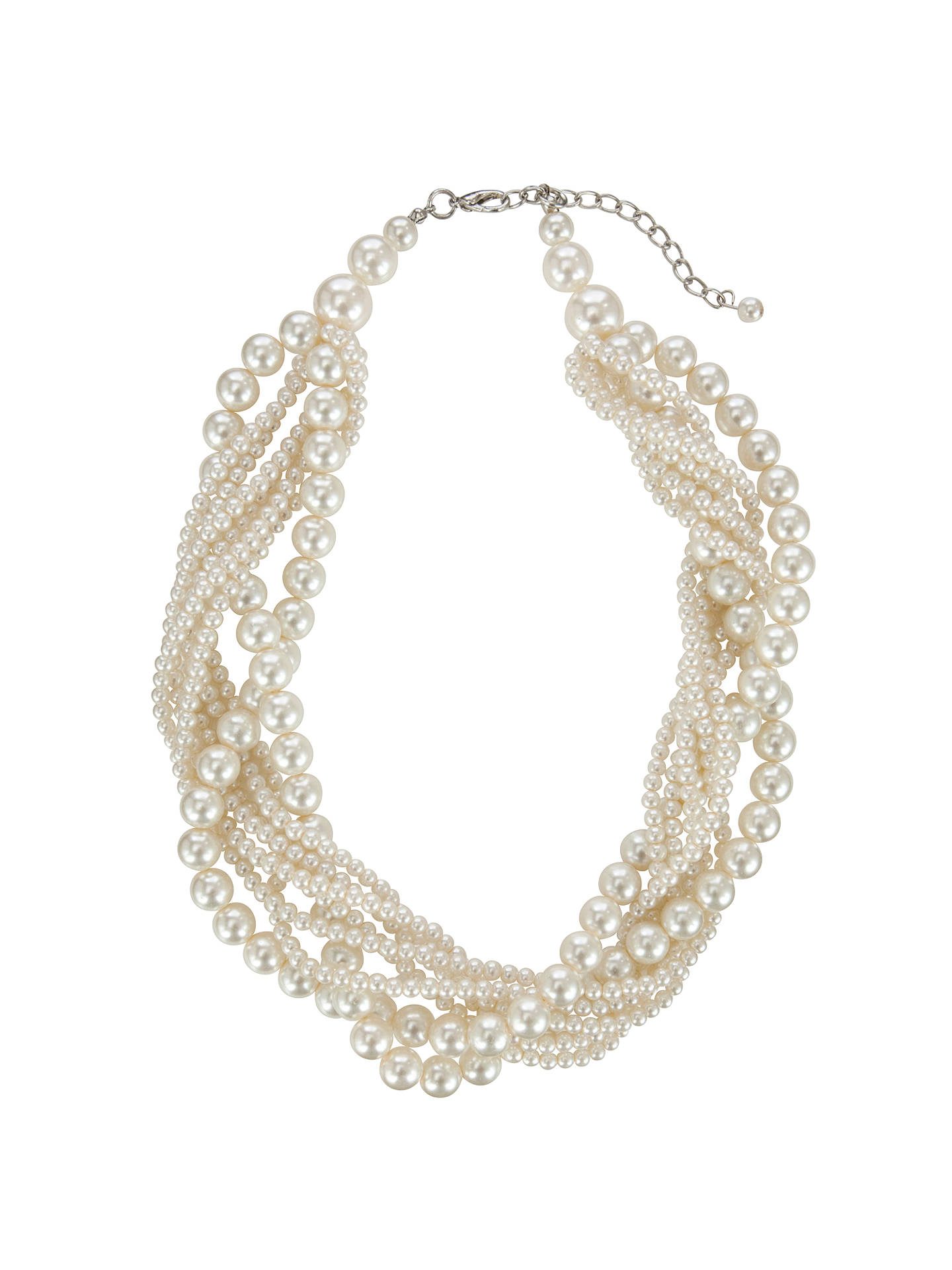 Buy John Lewis Twist Faux Pearl Chunky Statement Necklace, White Online at johnlewis.com