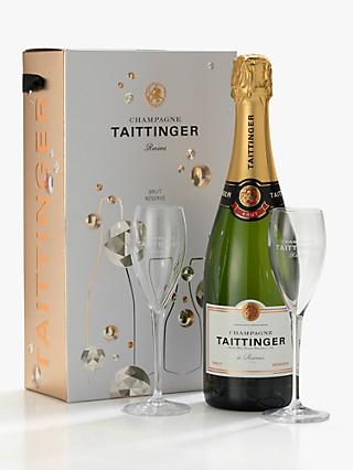 Taittinger Brut NV Champagne & Glasses Gift Set, 75cl