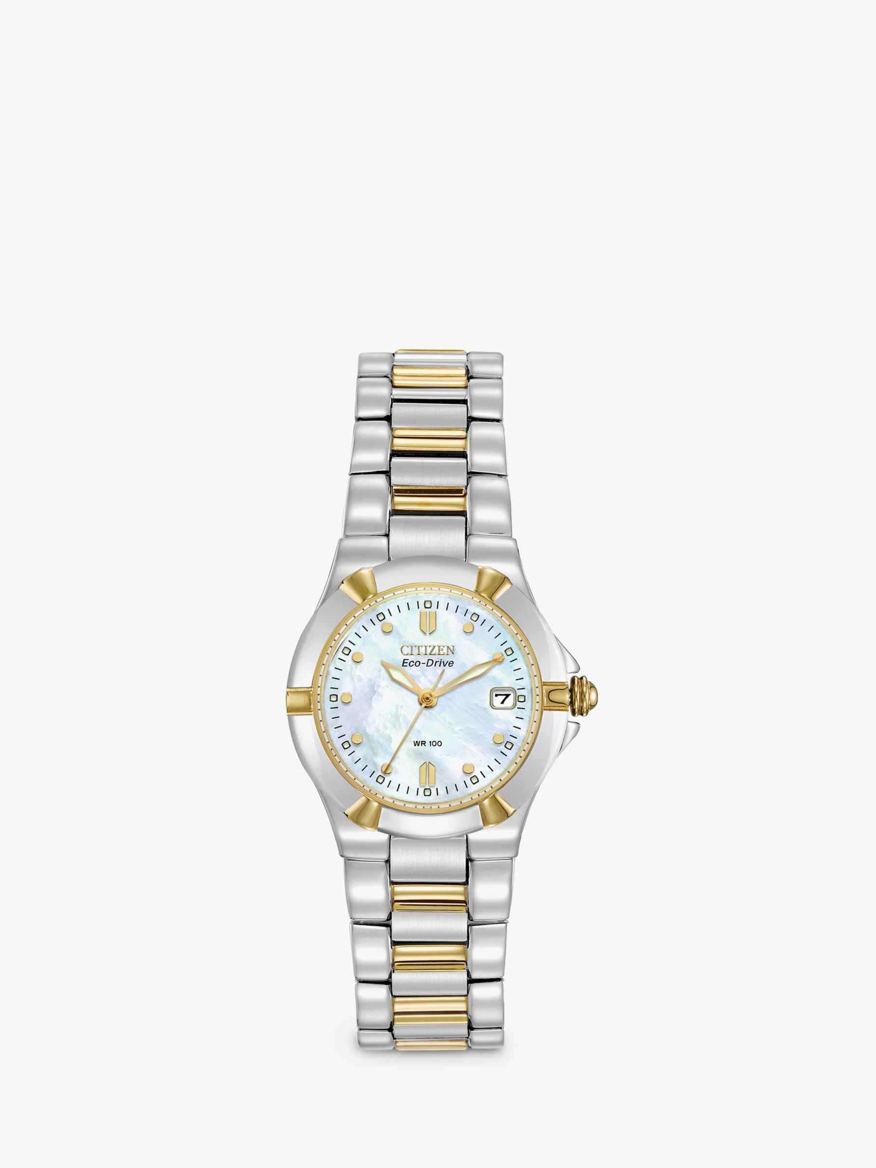Citizen Citizen EW1534-57D Women's Eco-Drive Mother of Pearl Two Tone Bracelet Strap Watch, Silver/Gold