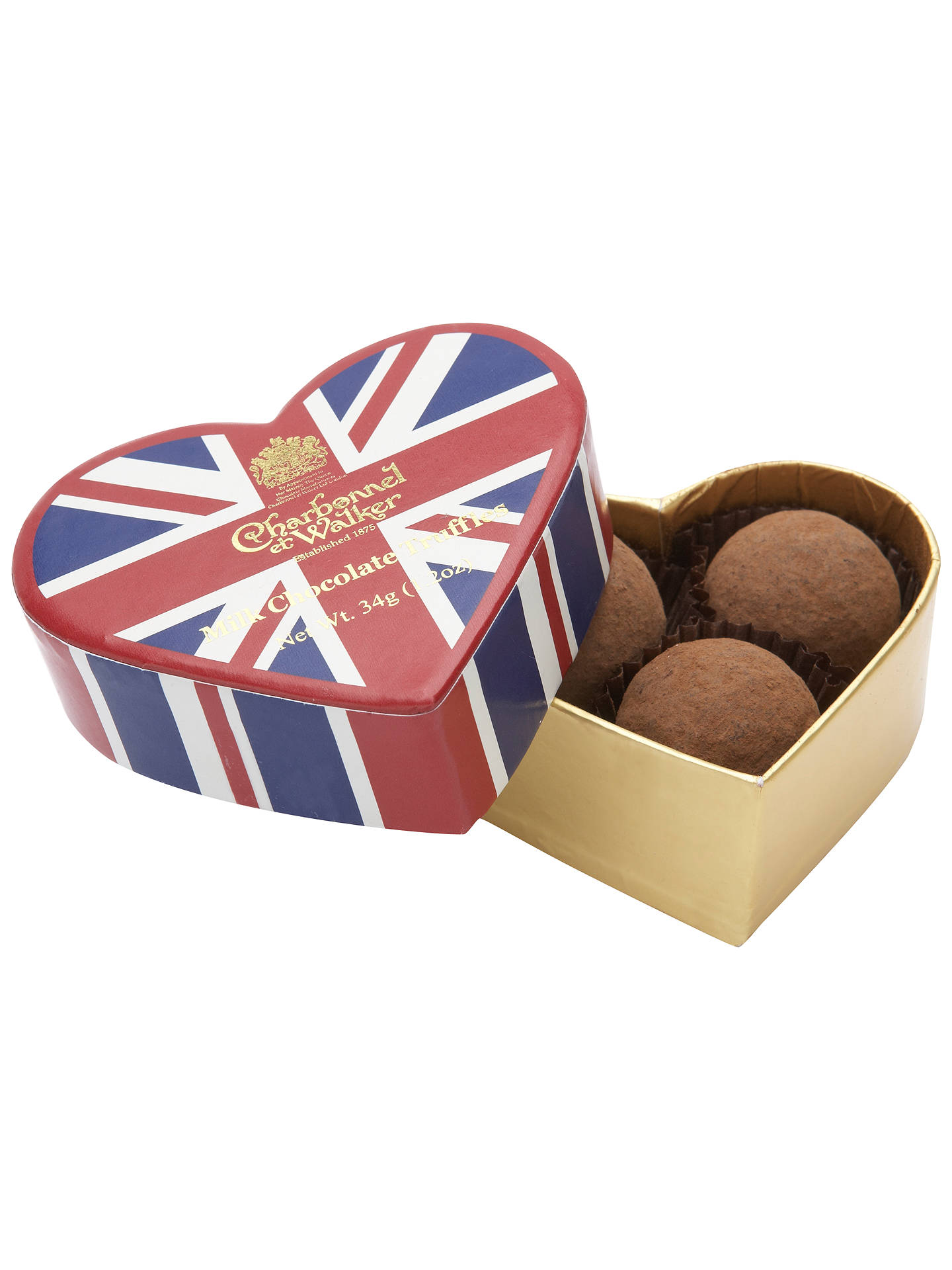 Buy Charbonnel et Walker Mini Truffles in a Union Jack Heart Box, 34g Online at johnlewis.com