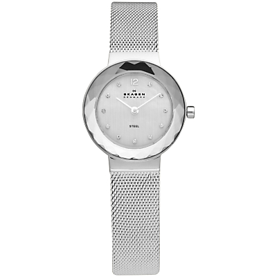 Skagen 456SSS Women's Stainless Steel Mesh Bracelet Strap Watch, Silver/White