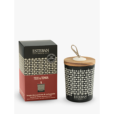 Esteban Teck & Tonka Decorated Scented Candle, 170g