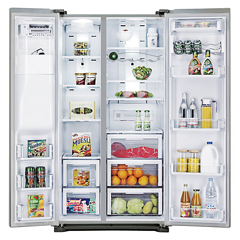 Buy Samsung RSG5UURS American Style Fridge Freezer, A+ Energy Rating, 91cm Wide, Stainless Steel Online at johnlewis.com