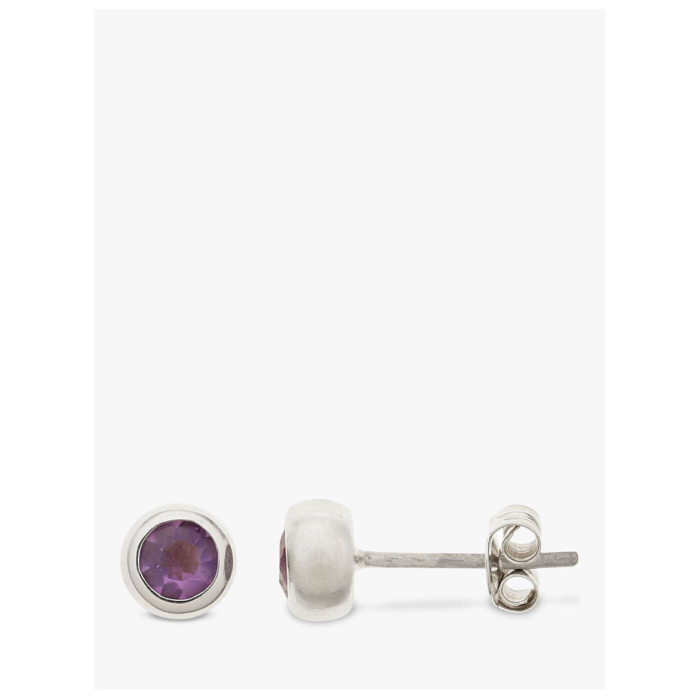 BuyNina B Sterling Silver Round Stud Earrings, Amethyst Online at johnlewis.com