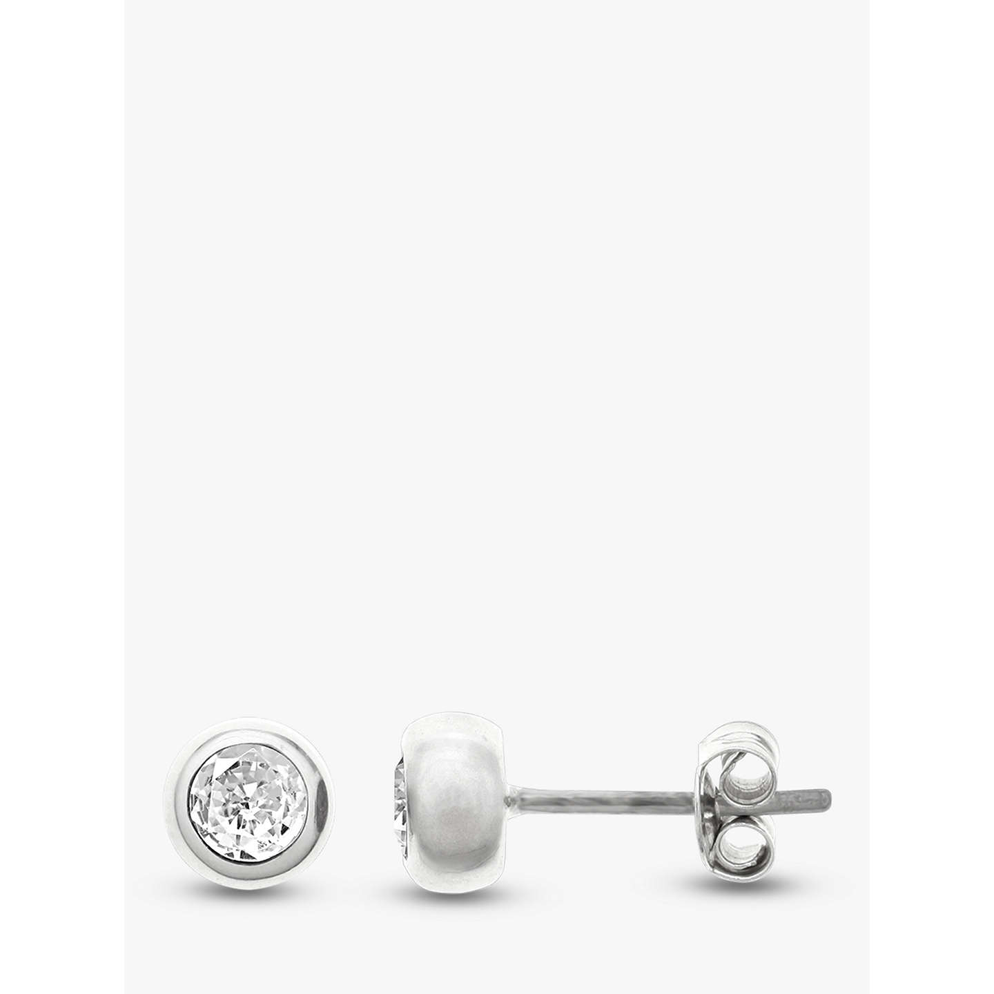 BuyNina B Sterling Silver Round Stud Earrings, Cubic Zirconia Online at johnlewis.com