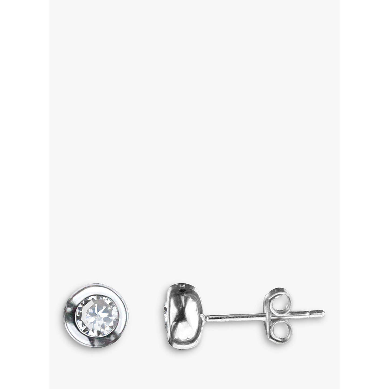 Nina B 9ct White Gold Cubic Zirconia Round Stud Earrings Online At Johnlewis