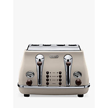 Buy De'Longhi CTOV4003BG Vintage Icona Toaster, 4-Slice, Cream Online at johnlewis.com
